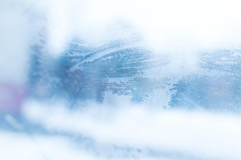 Patterns on the frozen glass stock photos