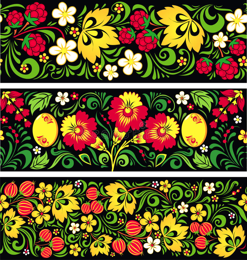 Free Patterns In Traditional Russian Style Hohloma Royalty Free Stock Image - 27969736