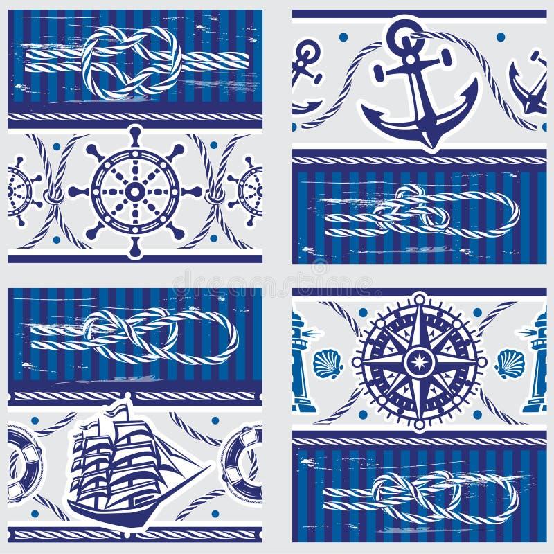 Patterns with Nautical symbols and marine knots. Seampless patterns with Nautical symbols and marine knots stock illustration