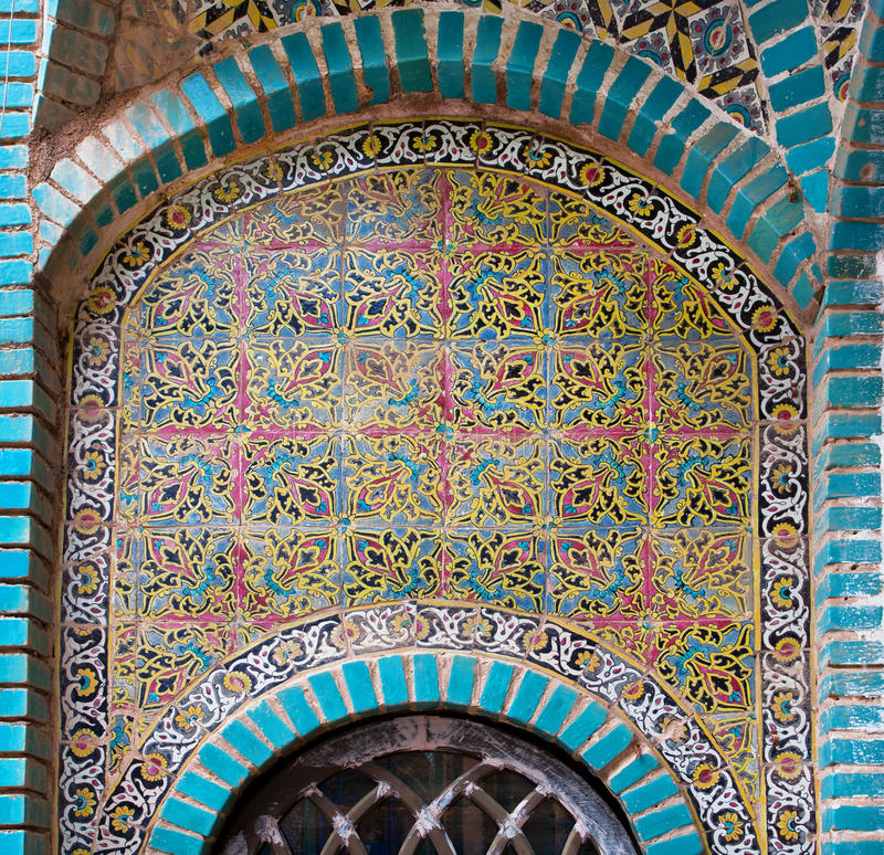 Patterns of old ceramic tile wall of historic building in Iran. IRAN: Patterns of old ceramic tile wall of historic building royalty free stock photo