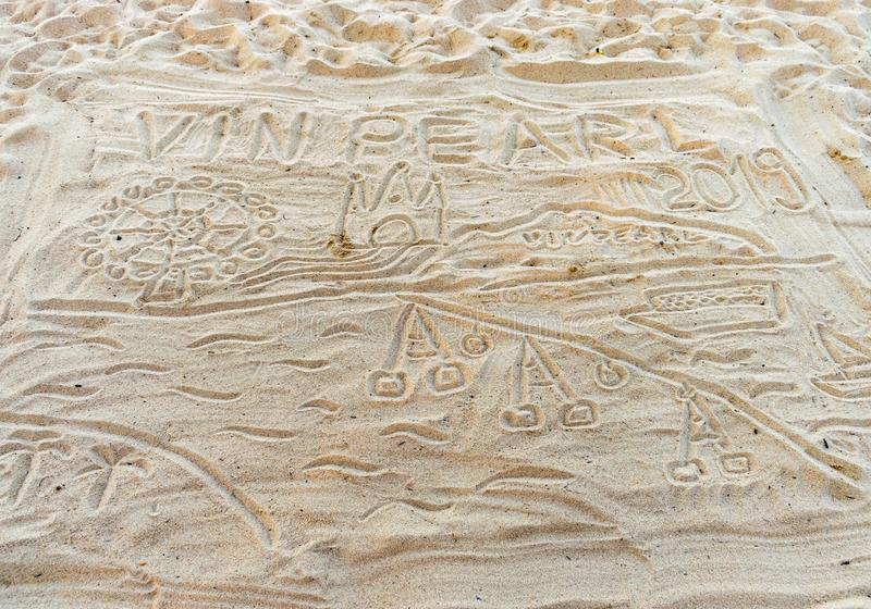 Patterns on the sand on the beach in Vietnam vector illustration