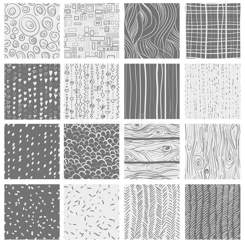 16 patterns. Set of 16 seamless patterns and textures- hearts, circles, dots, wood; textile, waves vector illustration
