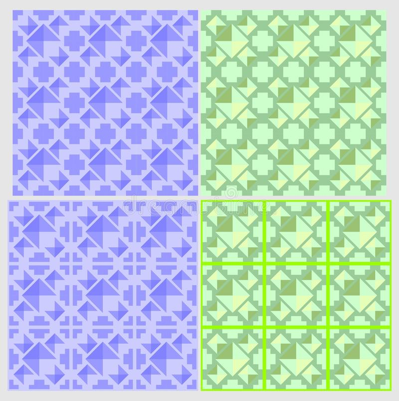 4 patterns and tile design elements stock image