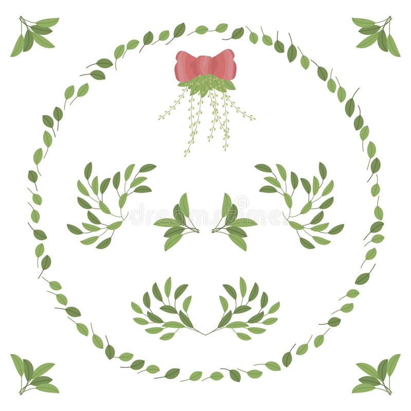 Patterns and a wreath of green leaves bow corners twig composition variations of a set vector. Patterns and a wreath of green leaves mirror corners twig vector illustration