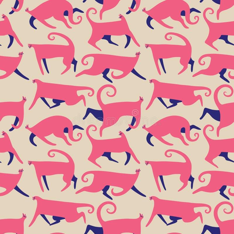 Patternt sem emenda com gatos da garatuja Fundo com o gatinho de corrida no estilo liso bonito Ilustração do vetor ilustração do vetor