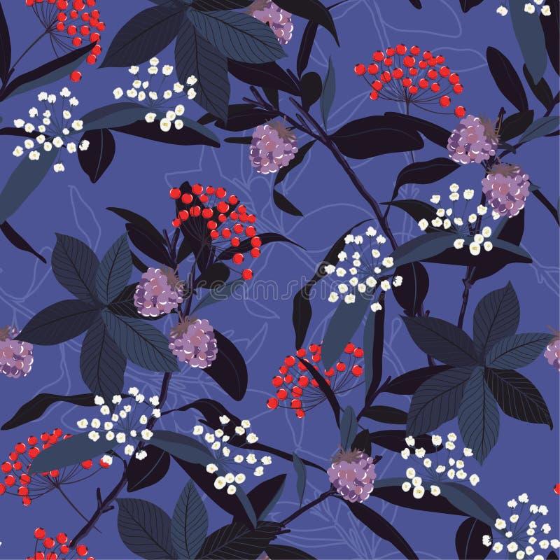 Patterrn sans couture des feuilles d'automne, baies rouges, fleurs sauvages, dessus illustration libre de droits