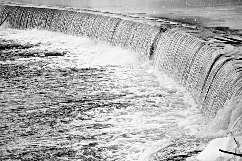 Patterson Falls New Jersey United states. Winter time black n white royalty free stock photos
