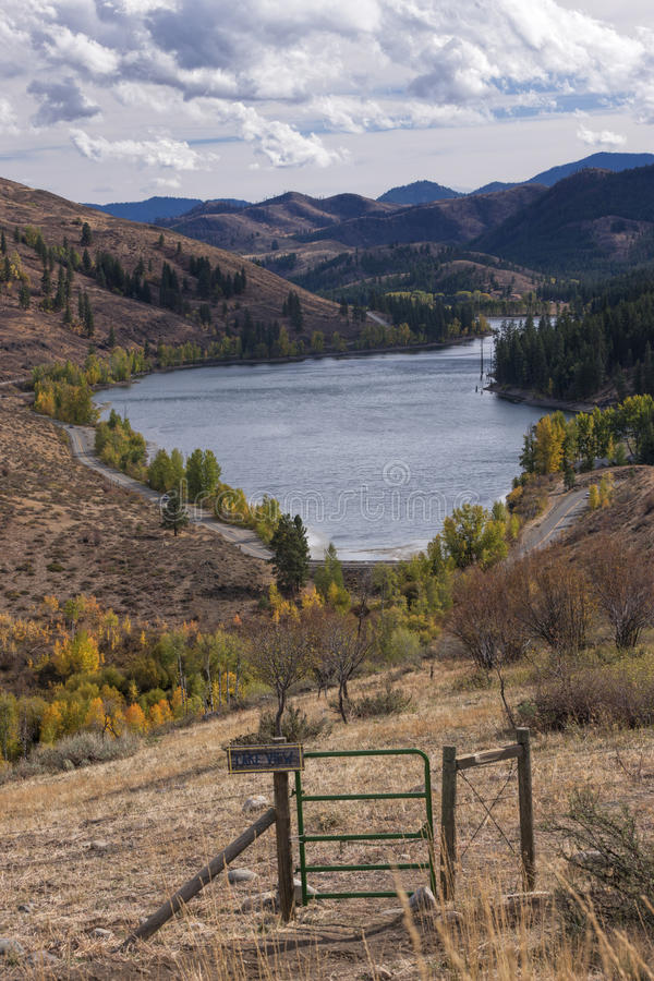 Patterson Lake in the background. The scenic Patterson Lake near Winthrop, Washington in Okanogan County stock photo