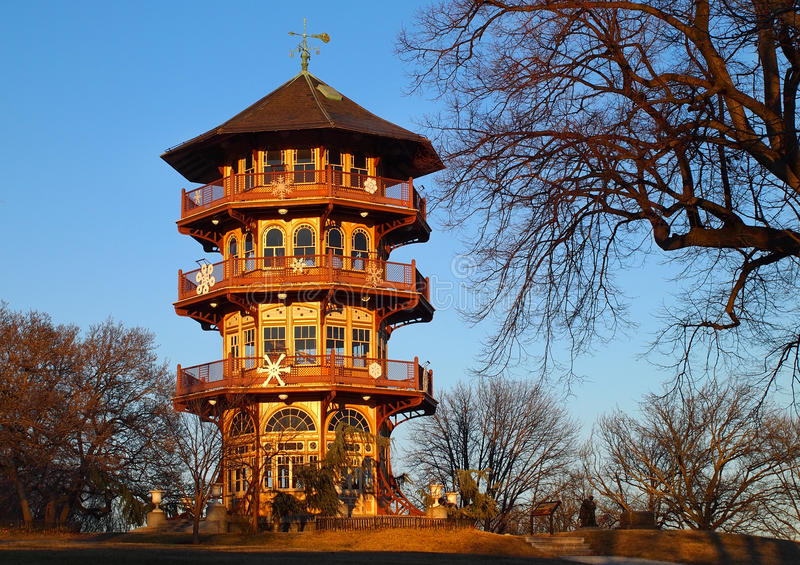 Patterson Park Pagoda. The Patterson Park Pagoda, on Hampstead Hill in Patterson Park, in Baltimore, MD, on a winter day. The pagoda, designed by Charles H royalty free stock photo