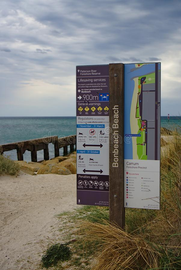 Patterson River Foreshore Reserve Signage image stock