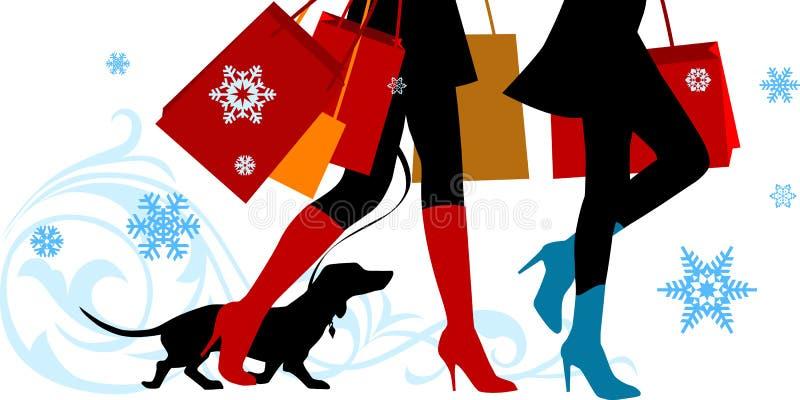 Pattes d'achats de Noël illustration stock
