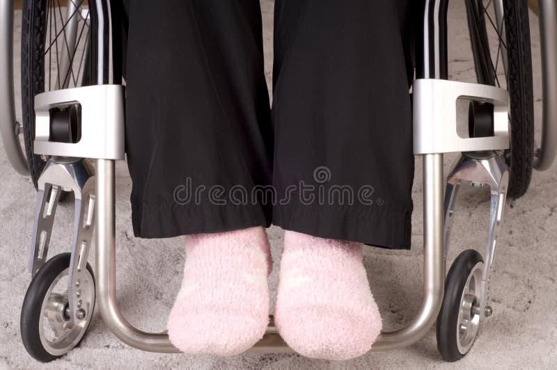 Pattes dans un fauteuil roulant photos stock