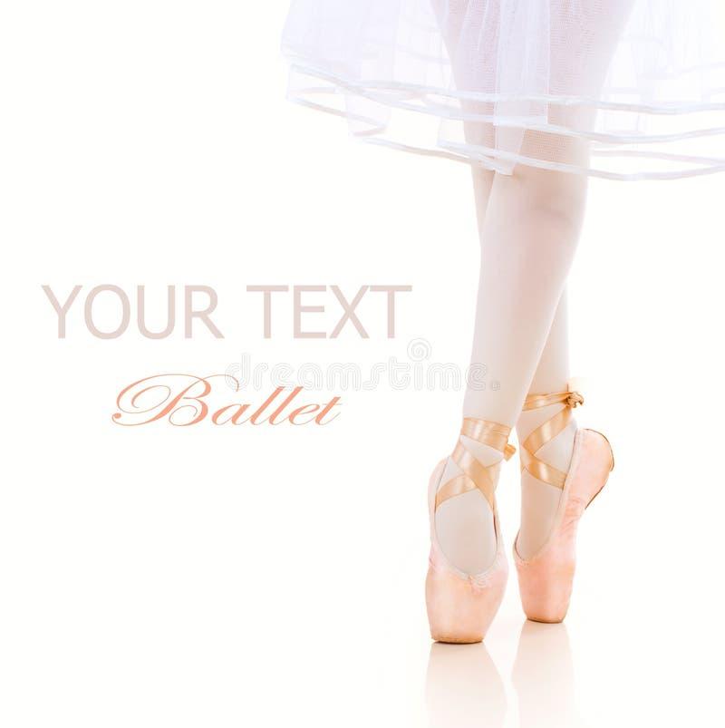 Pattes de ballerine. Chaussures de ballet. Pointe image libre de droits