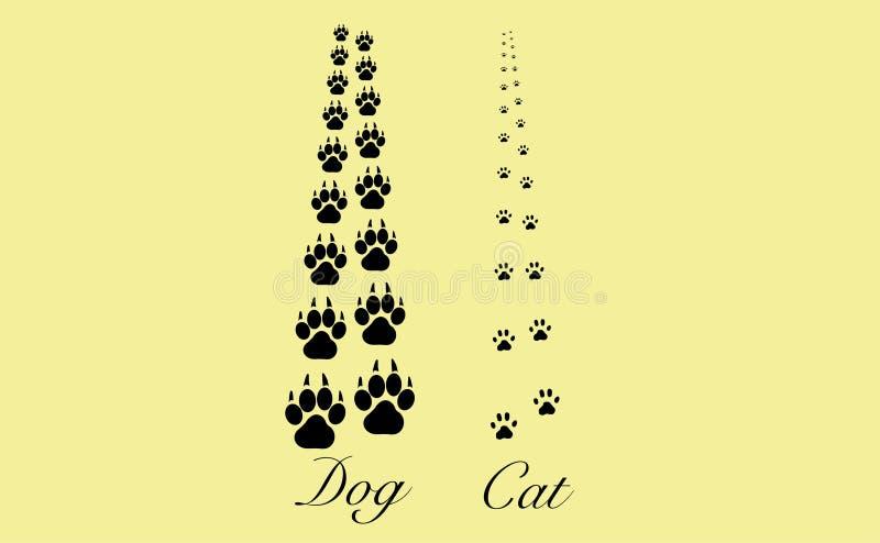 Pattes de chat et de chien illustration de vecteur