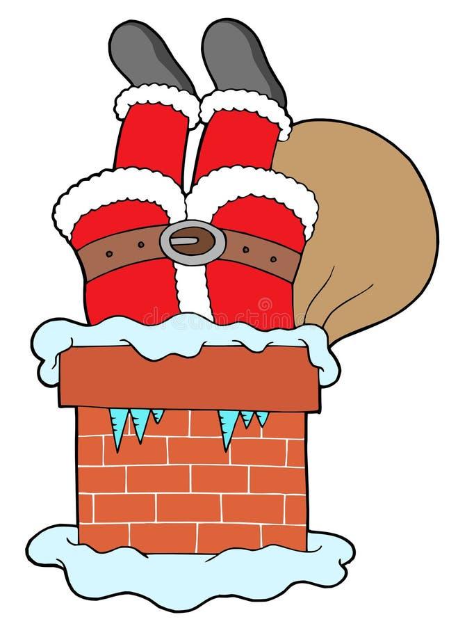 Pattes de clauses de Santa avec la cheminée illustration de vecteur