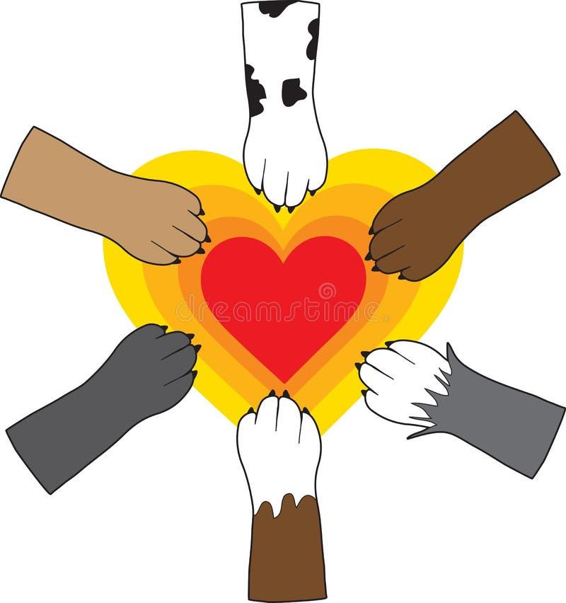 Pattes et coeur illustration libre de droits