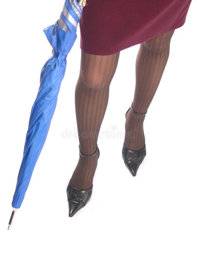 Pattes et parapluie photographie stock