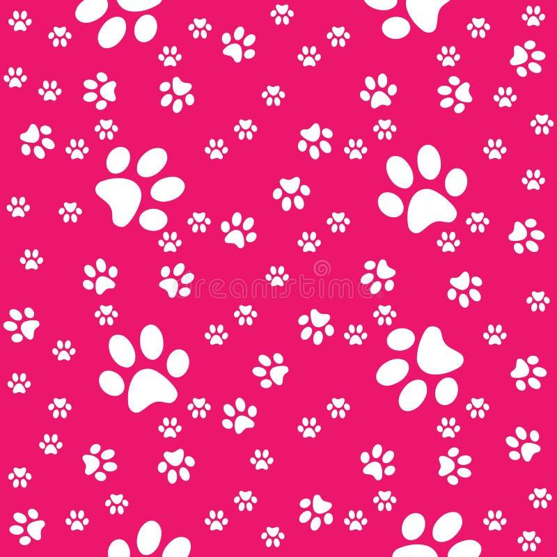 Pattes fond rose rouge sans couture, modèle de patte, copie illustration de vecteur
