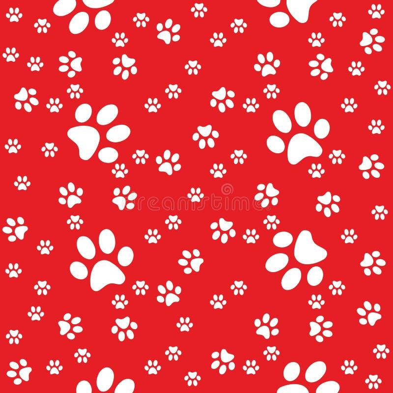 Pattes rouges fond sans couture, modèle de patte illustration libre de droits
