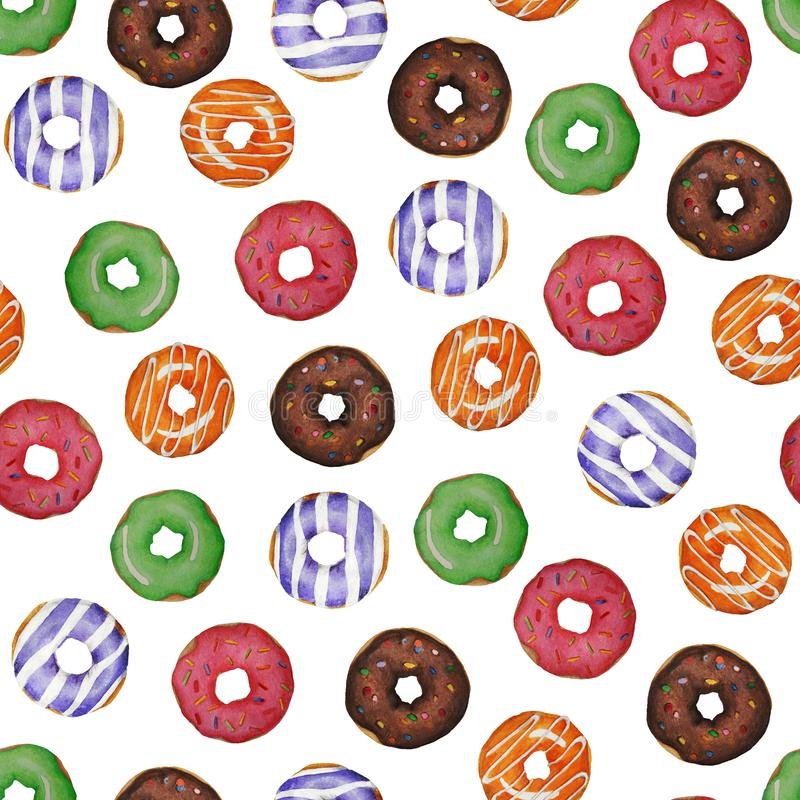 Pattetrn. Watercolor colored donuts. vector illustration