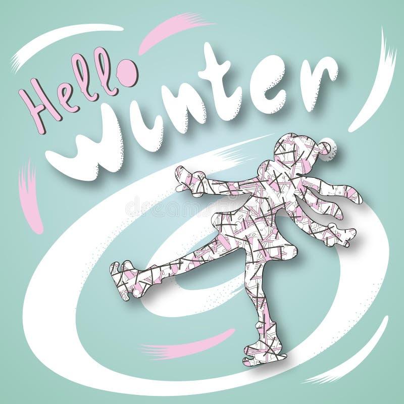 Pattinaggio su ghiaccio degli sport invernali illustrazione vettoriale
