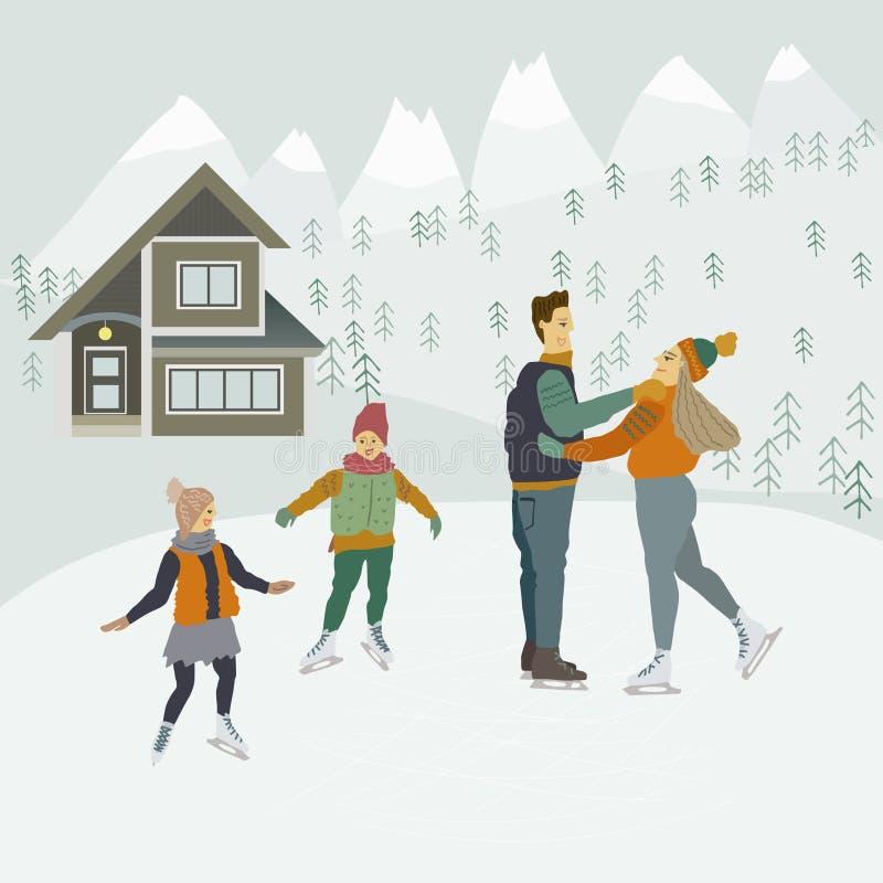 Pattinaggio su ghiaccio della famiglia sulla pista di pattinaggio Mountain View e casa di inverno illustrazione vettoriale
