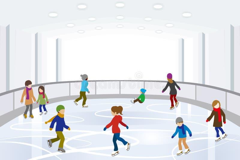 Pattinaggio su ghiaccio della gente in pista di pattinaggio sul ghiaccio dell'interno fotografia stock