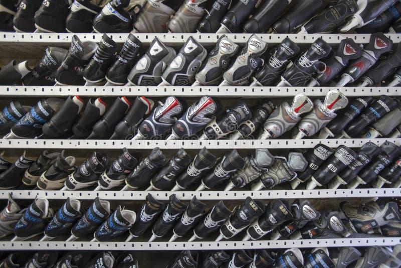 Pattinando sul ghiaccio sugli scaffali affitto fotografia stock libera da diritti