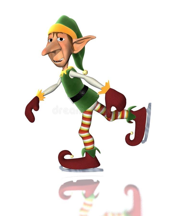 Pattinare di ghiaccio dell'elfo di natale illustrazione di stock