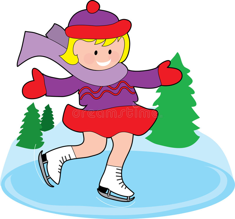 Pattinare di ghiaccio della ragazza illustrazione di stock