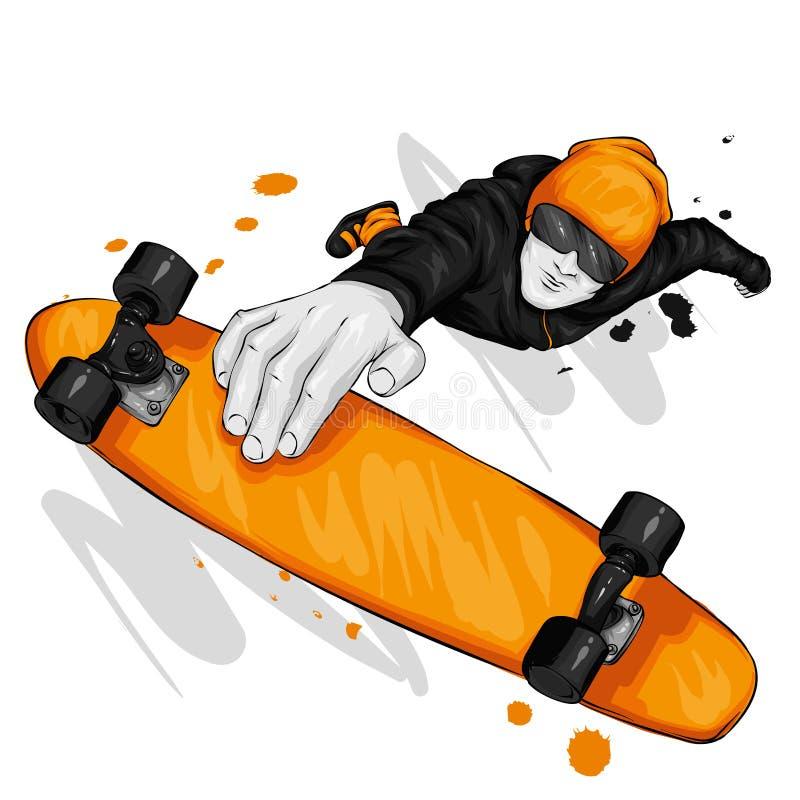 Pattinatore alla moda in jeans e scarpe da tennis skateboard Vector l'illustrazione per una cartolina o un manifesto, stampa per  immagine stock libera da diritti