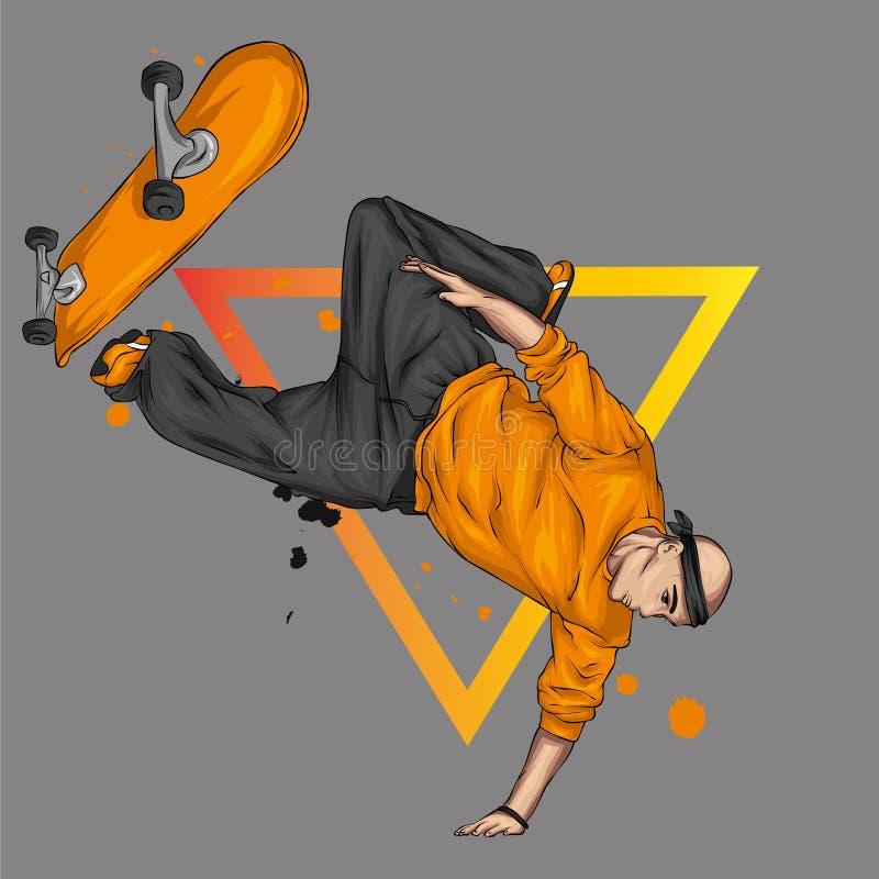 Pattinatore alla moda in jeans e scarpe da tennis skateboard Vector l'illustrazione per una cartolina o un manifesto, stampa per  immagine stock