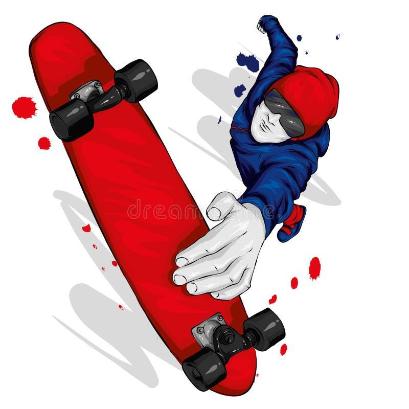Pattinatore alla moda in jeans e scarpe da tennis skateboard Vector l'illustrazione per una cartolina o un manifesto, stampa per  fotografia stock libera da diritti