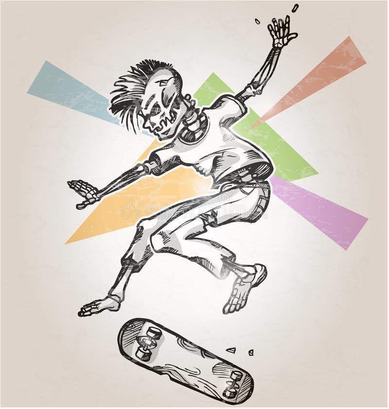 Pattinatore di scheletro illustrazione di stock