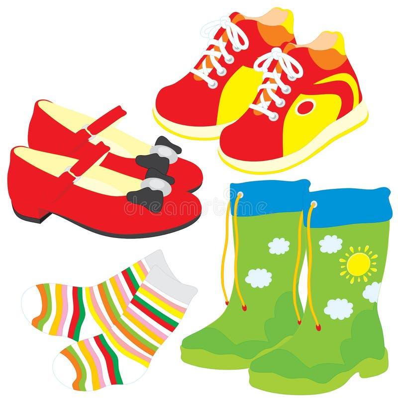 Pattini, calzini, gumboots, caricamenti del sistema illustrazione vettoriale
