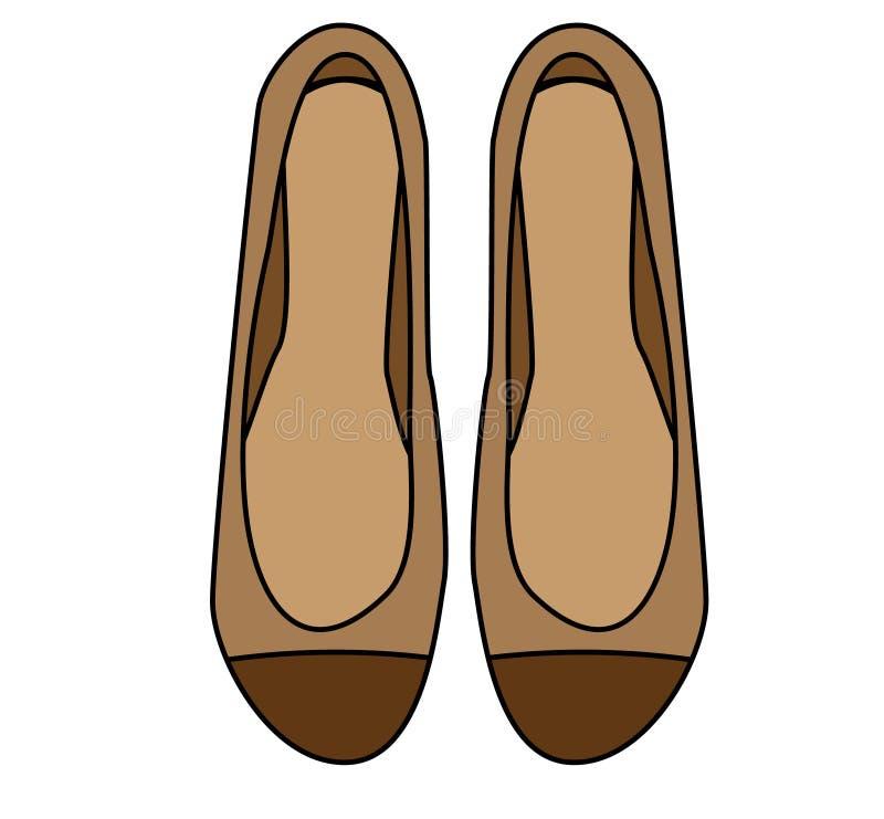 Pattini della donna alla moda Icona disegnata a mano, illustrazione di vettore Calzature femminili, appartamenti marroni royalty illustrazione gratis
