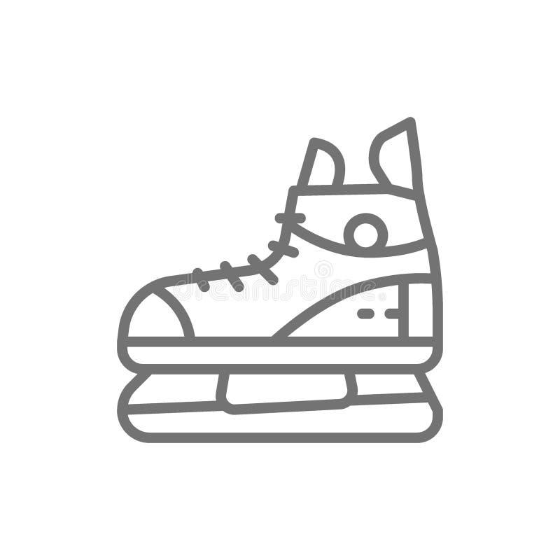 Pattini, linea icona dell'attrezzatura di sport illustrazione di stock