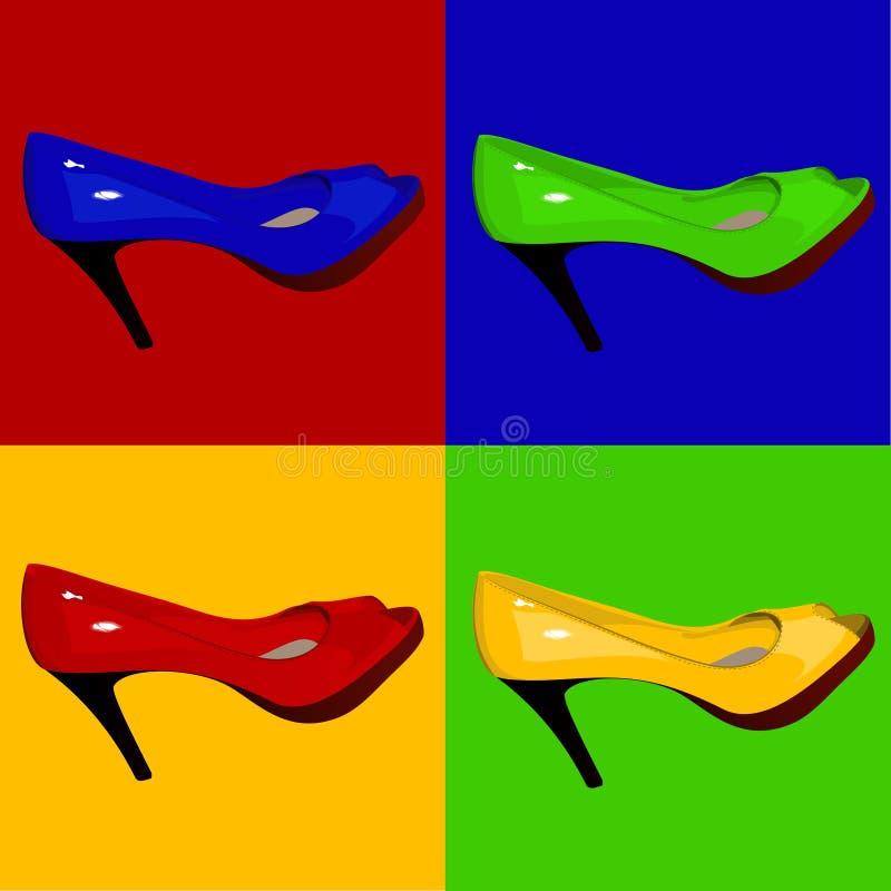 Pattini multicolori delle donne laccate royalty illustrazione gratis