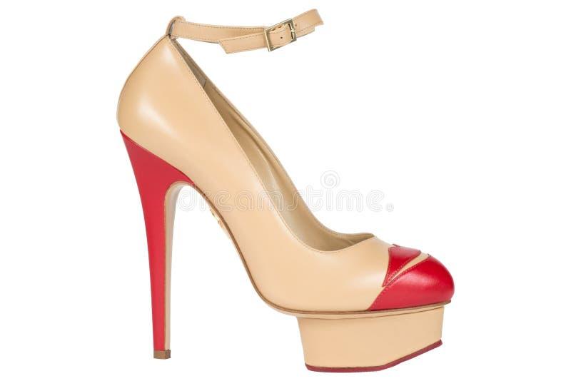 Pattini Scarpe del ` s delle donne su un fondo bianco calzature premio Scarpe bollate italiano fotografia stock