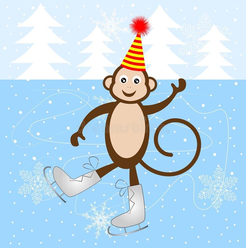 Pattino allegro della scimmia sul ghiaccio immagini stock libere da diritti