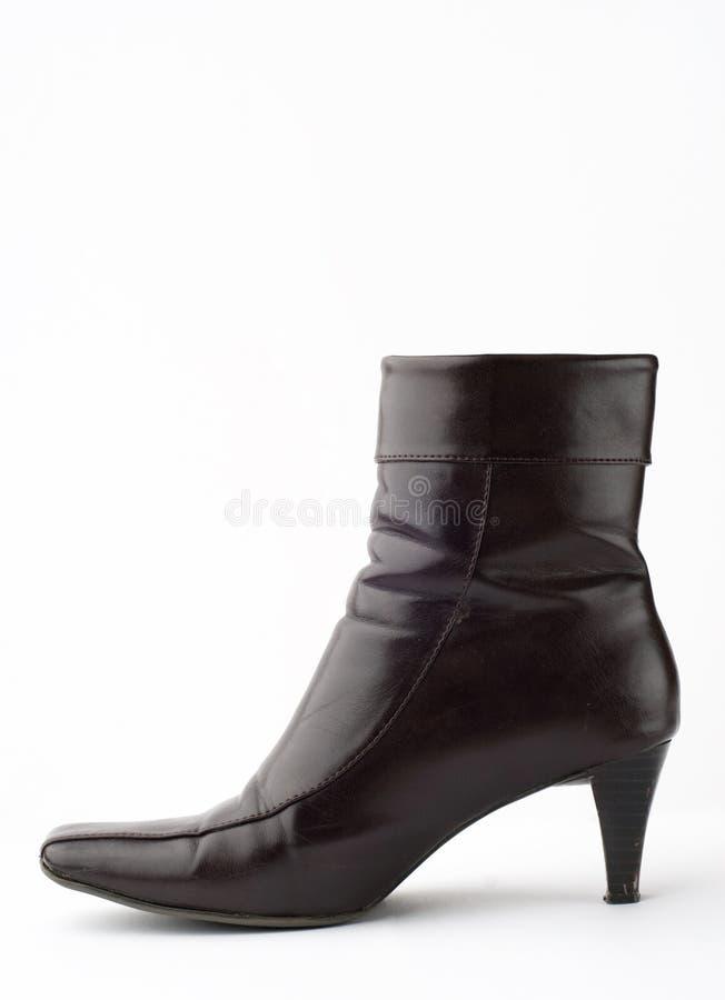 Pattino femminile di cuoio nero fotografie stock