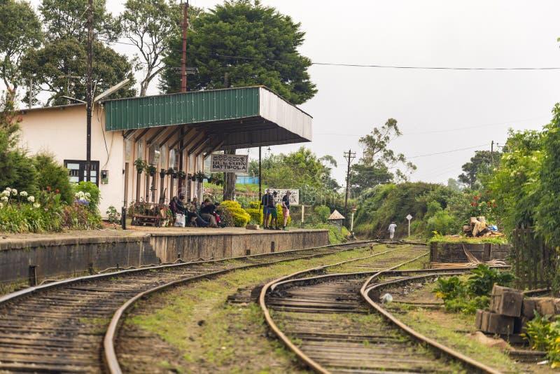 PATTIPOLA , SRI LANKA - 9 DE ENERO DE 2014: Turistas en el tren que espera de la estación de Pattipola para foto de archivo