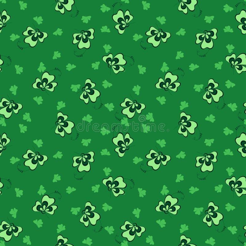 Pattrn зеленого клевера предпосылки безшовное иллюстрация штока