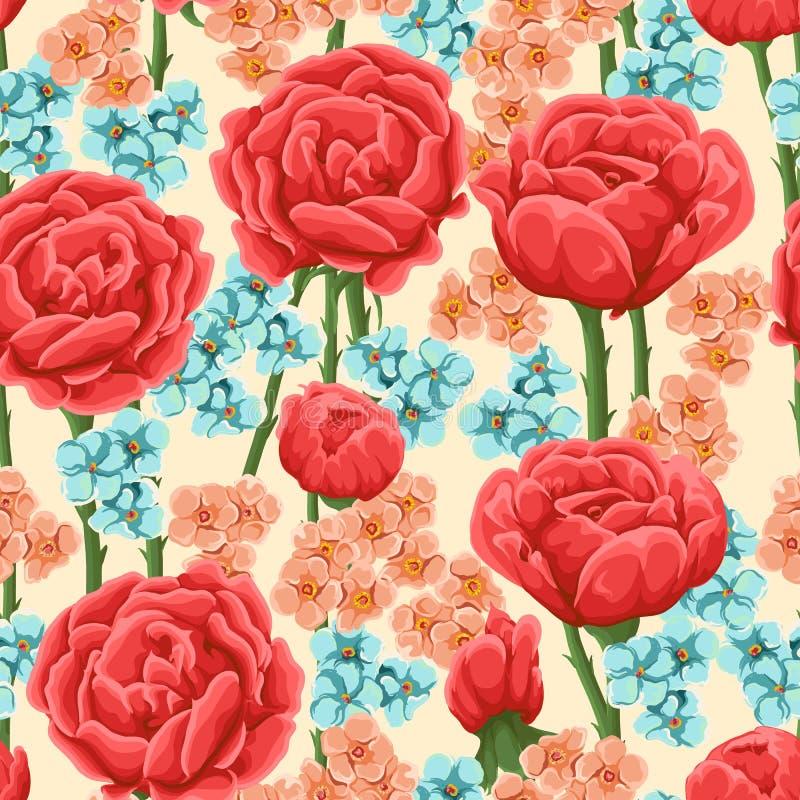 Pattrn sem emenda floral ilustração do vetor