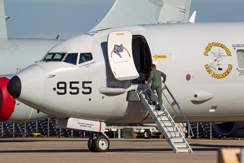 Pattuglia marittima della marina di Stati Uniti USN Boeing P-8A Poseidon ed aerei di guerra del Anti-sottomarino fotografie stock libere da diritti
