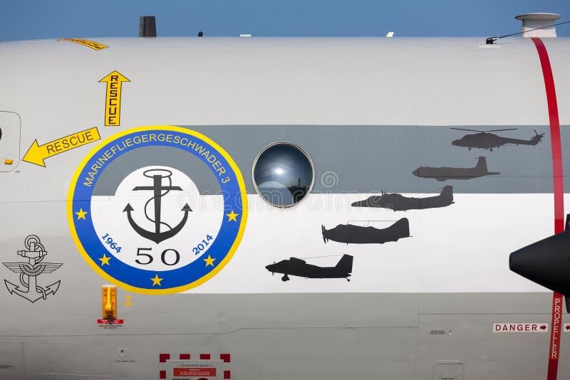 Pattuglia tedesca di Deutsche Marine Lockheed P-3C Orion Maritime della marina ed anti aerei sottomarini di guerra fotografie stock libere da diritti