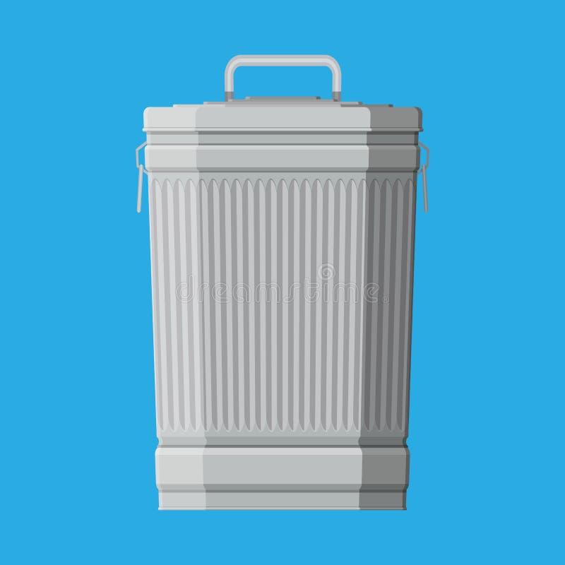 Pattumiera residua enorme isolata sul blu illustrazione vettoriale