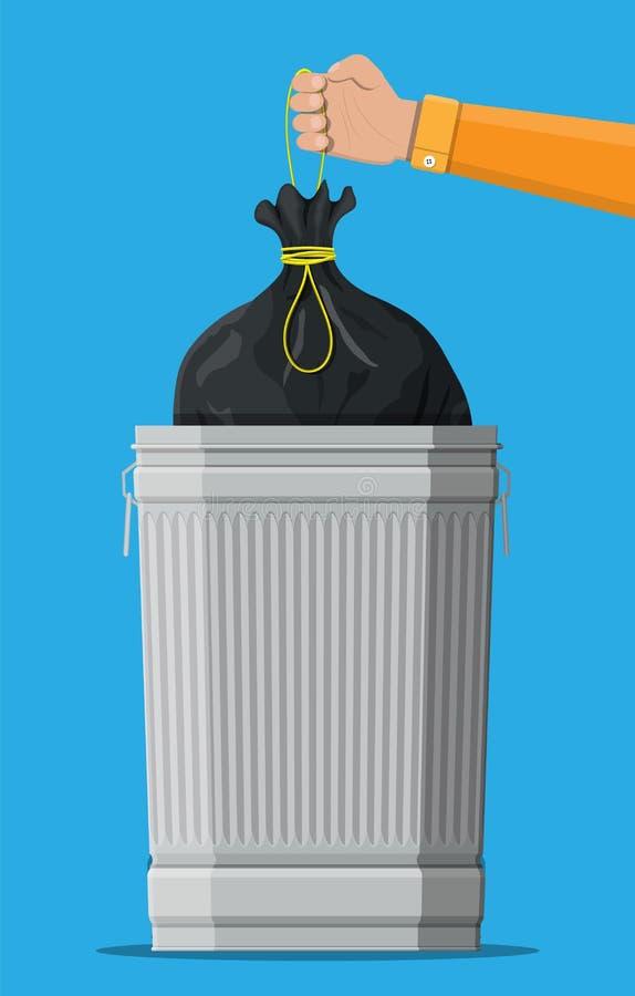 Pattumiera residua enorme isolata sul blu illustrazione di stock