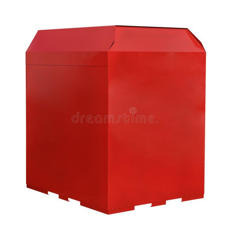 Pattumiera rossa del metallo isolata su fondo bianco immagine stock libera da diritti