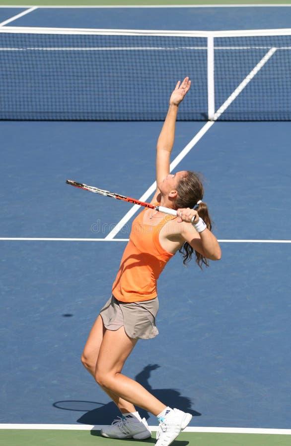 Patty Schnyder, servire di tennis fotografie stock